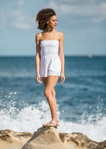2 in 1 Bandeau Playsuit and Shorts White