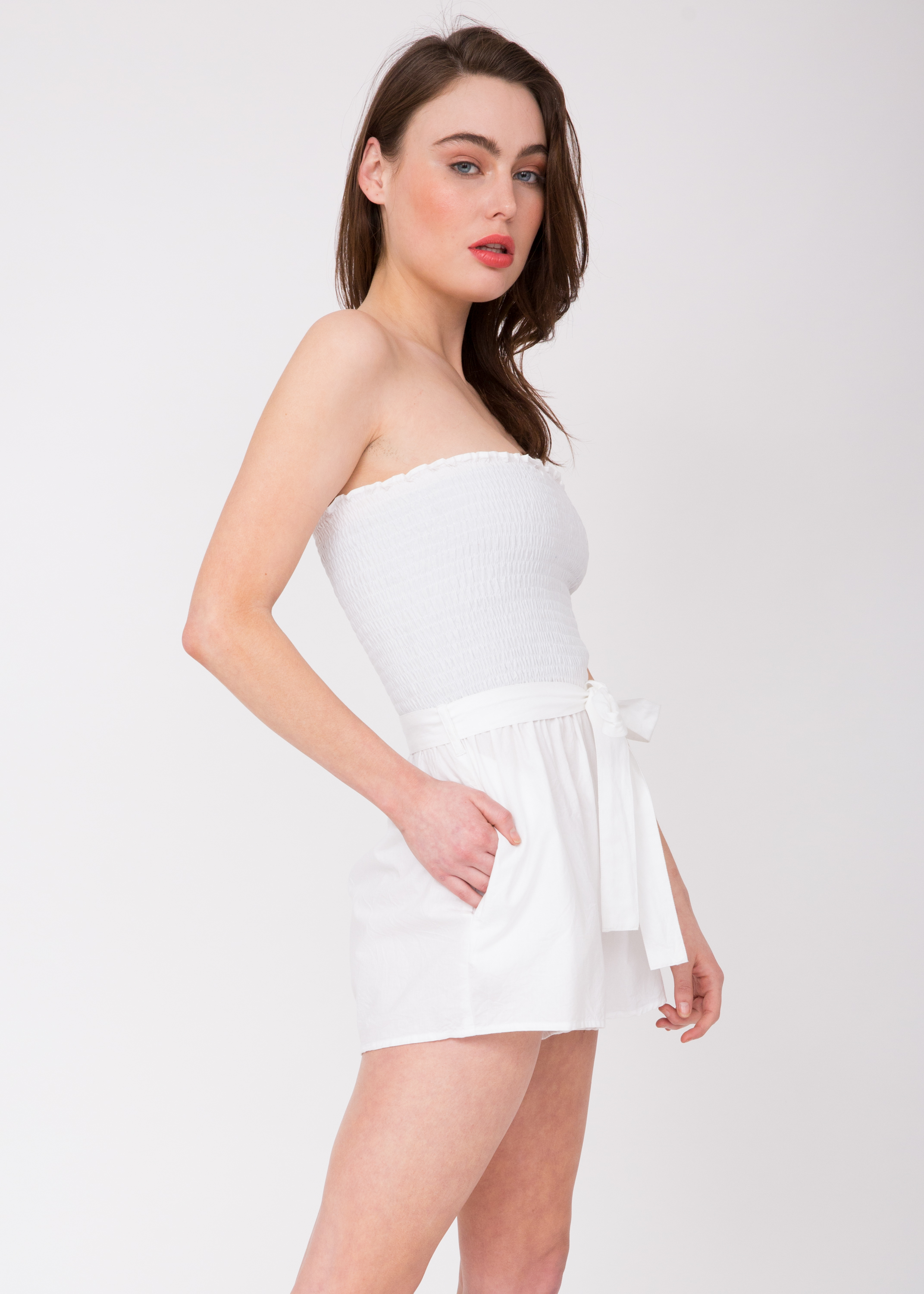 d03f1fbf33a3 2 in 1 Bandeau Playsuit and Shorts White – likemary