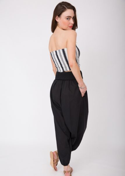 2 in 1 Cotton Harem Trouser or Bandeau Jumpsuit Khaki