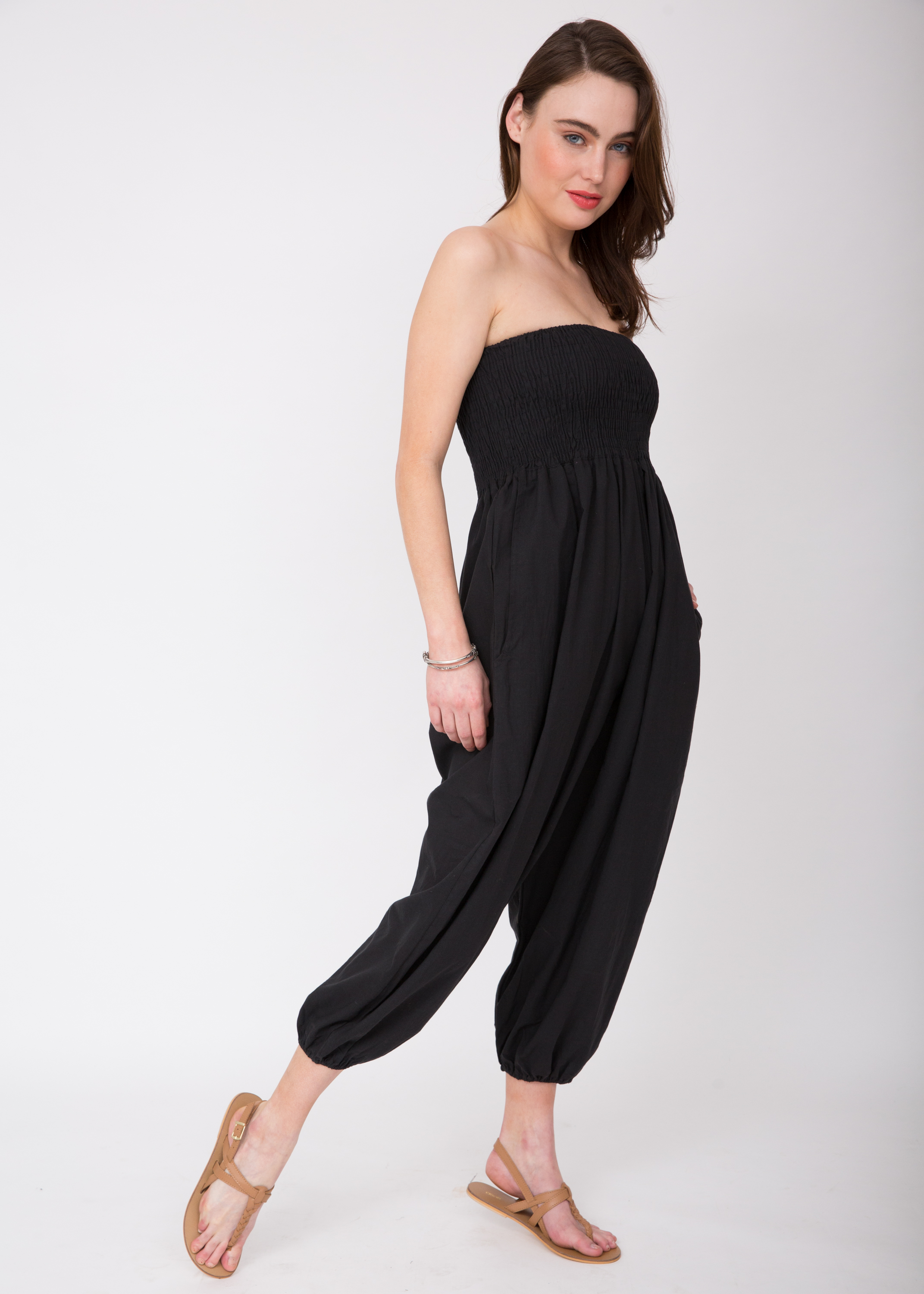 44a1adcb762 2 in 1 Cotton Harem Trouser or Bandeau Jumpsuit Black – likemary