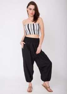 2 in 1 Cotton Harem Trouser or Bandeau Jumpsuit Black Trousers