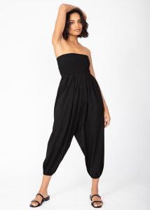 2 in 1 Cotton Harem Trouser or Bandeau Jumpsuit Black