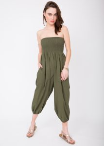 Cotton Printed Maxi 2 in 1 Harem Trouser Jumpsuit Earth Print