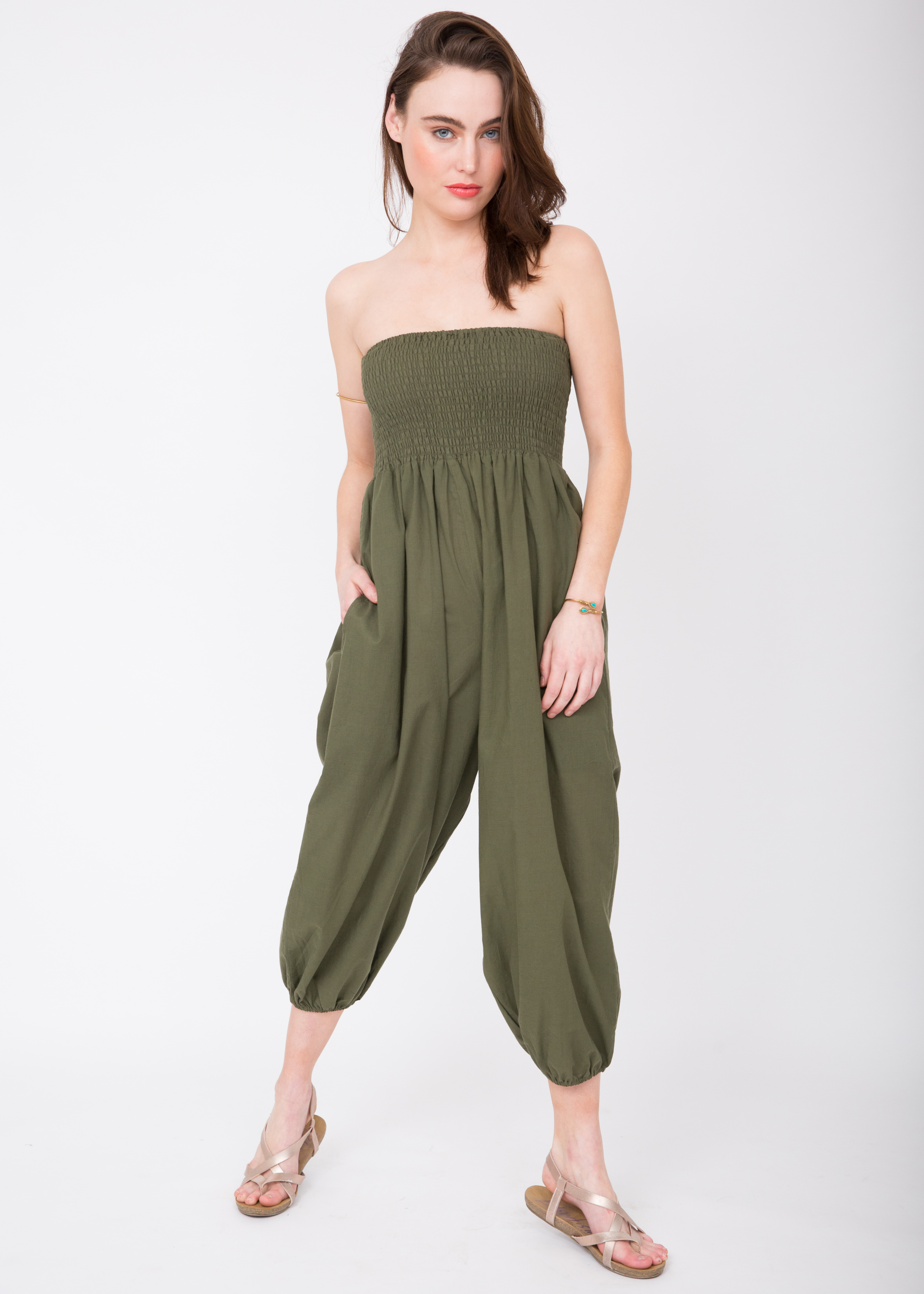 517f2683145 2 in 1 Cotton Harem Trouser or Bandeau Jumpsuit Khaki – likemary