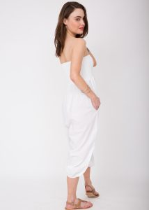2 in 1 Cotton Harem Trousers and Hareem Bandeau Jumpsuit White