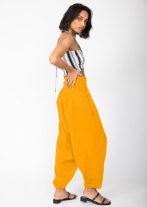 2 In 1 Cotton Harem Trouser Or Bandeau Jumpsuit Mustard