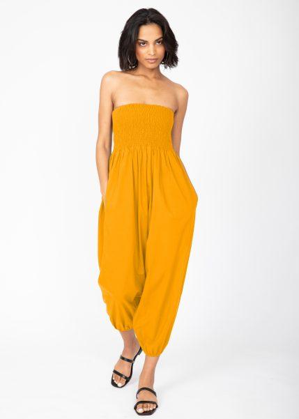 2 In 1 Cotton Harem Trouser Or Bandeau Jumpsuit Mustard