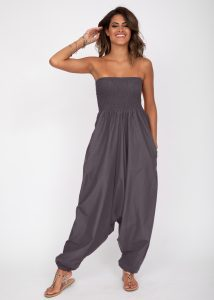2 in 1 Cotton Maxi Harem Trouser and Bandeau Jumpsuit Grey