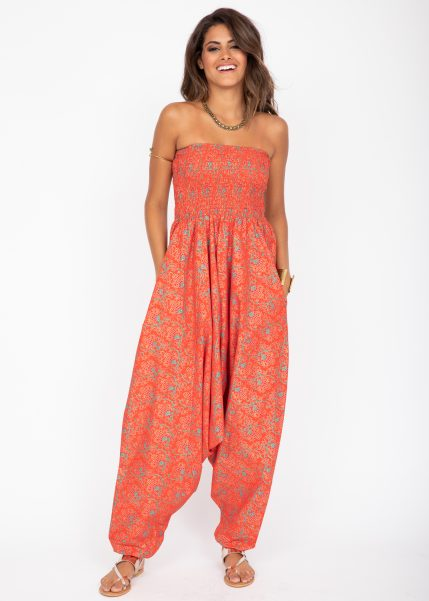 2 in 1 Cotton Maxi Harem Trouser and Bandeau Jumpsuit Red