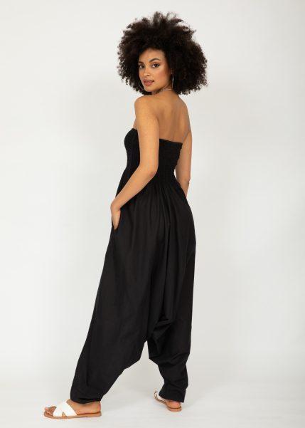 2 in 1 Cotton Maxi Harem Trouser Jumpsuit Black