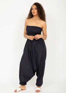 2 in 1 Cotton Maxi Harem Trouser Jumpsuit Midnight Blue
