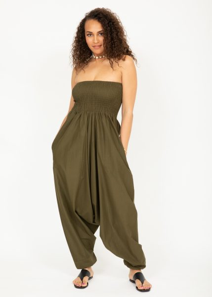 2 in 1 Cotton Maxi Harem Trouser Jumpsuit Olive