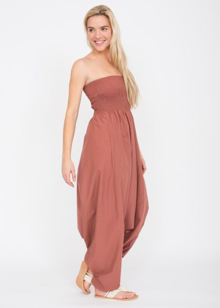 2 in 1 Cotton Maxi Harem Trouser Jumpsuit Rose Pink