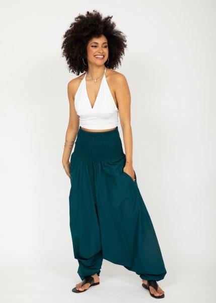 2 in 1 Cotton Maxi Harem Trouser Jumpsuit Teal