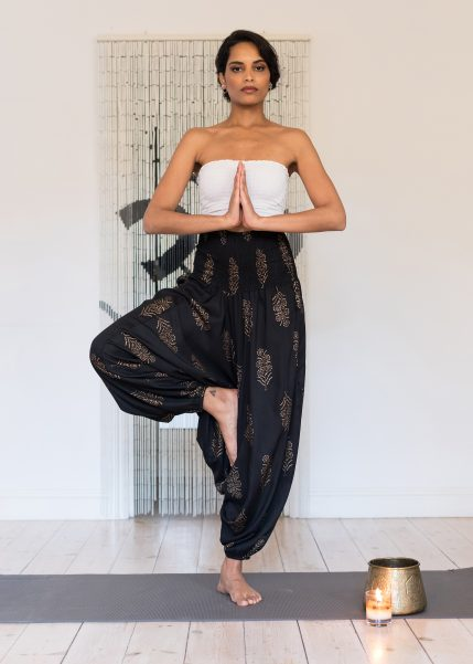 2 in 1 Harem Trousers and Bandeau Jumpsuit Black and Gold