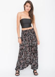 2 in 1 Harem Trousers and Bandeau Jumpsuit Black Paisley Print