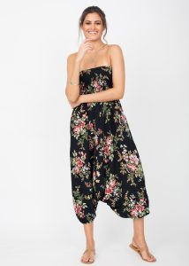 2 in 1 Harem Trousers and Bandeau Jumpsuit Floral Bouquet