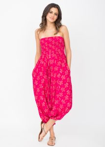 2 in 1 Harem Trousers and Bandeau Jumpsuit Fuchsia with Gold Applique