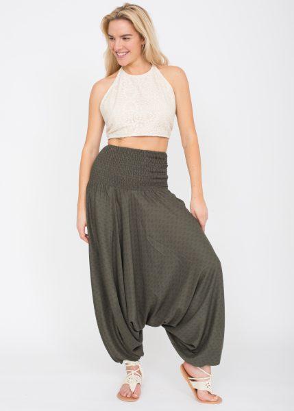 2 in 1 Harem Trousers and Bandeau Jumpsuit Khaki Paisley Print