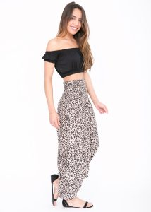 2 in 1 Harem Trousers and Bandeau Jumpsuit Leopard