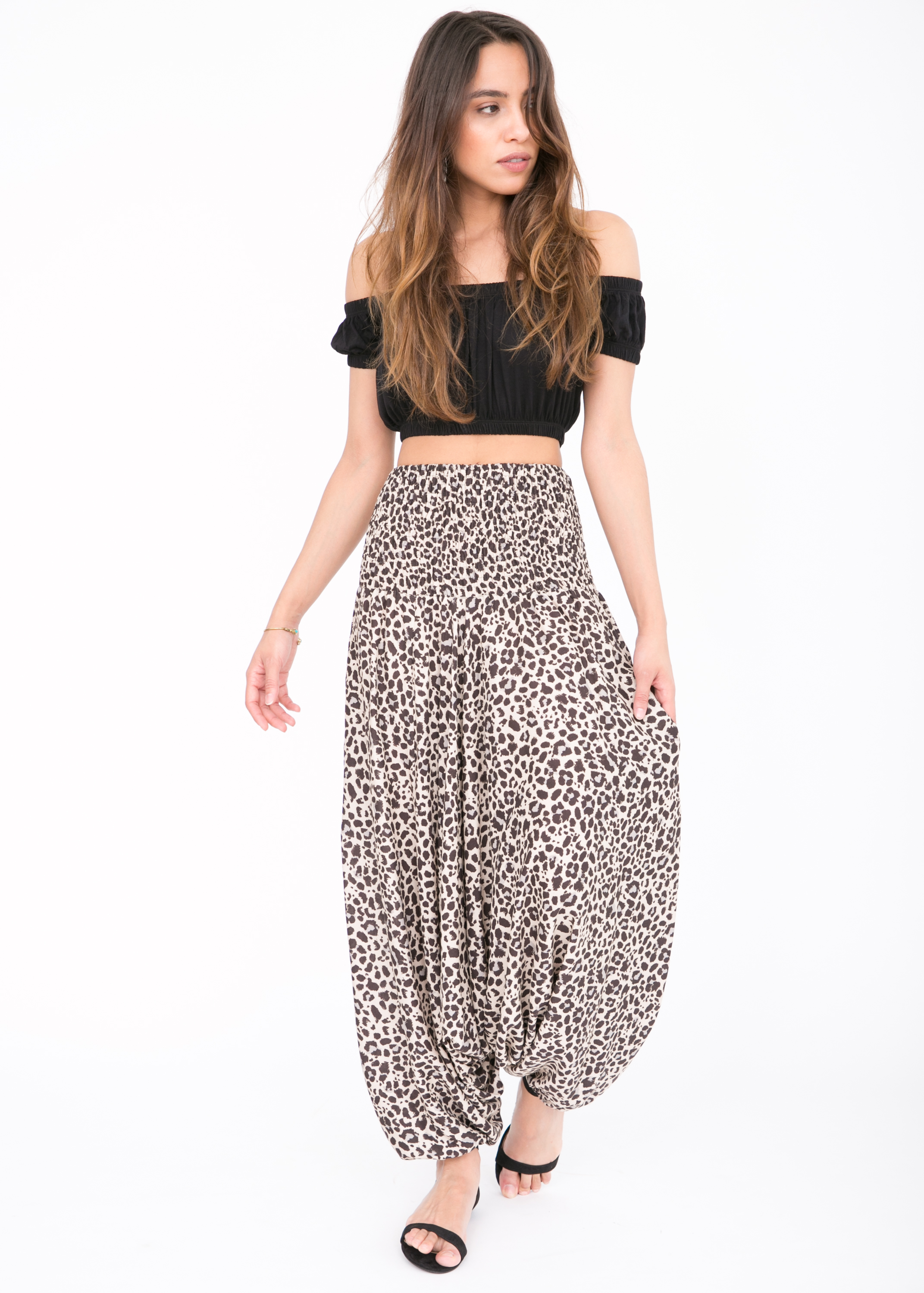 38016a04d01 2 in 1 Harem Trousers and Bandeau Jumpsuit Leopard – likemary