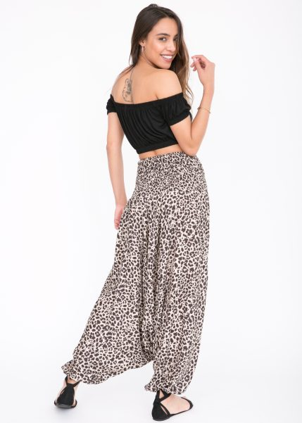 2 in 1 Harem Trousers and Bandeau Jumpsuit Leopard