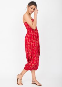 2 in 1 Harem Trousers and Bandeau Jumpsuit Red with Gold Applique