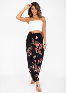 2 in 1 Harem Trousers and Bandeau Jumpsuit Roses Print