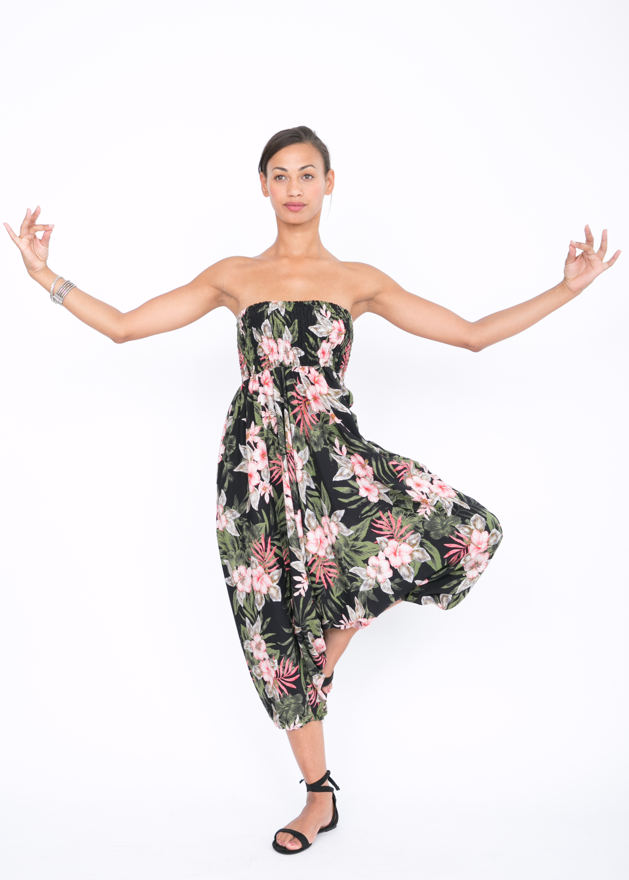 473690ef7567 2 in 1 Harem Trousers and Bandeau Jumpsuit Tropical Florals – likemary