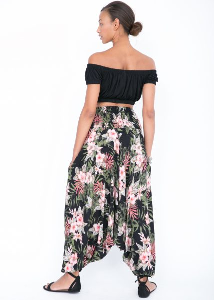 2 in 1 Harem Trousers and Bandeau Jumpsuit Tropical Florals