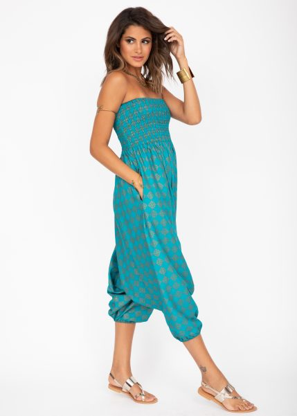 2 in 1 Harem Trousers and Bandeau Jumpsuit Turquoise and Gold Applique