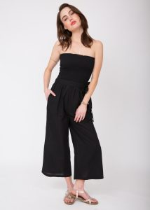 2 in 1 Wide Leg Culotte Jumpsuit and Trousers Black