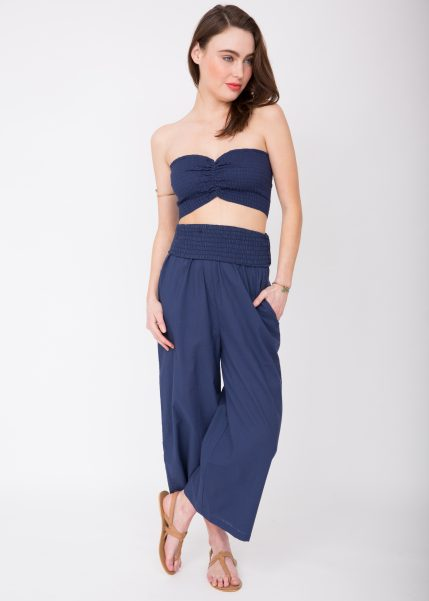 2 in 1 Wide Leg Culotte Jumpsuit and Trousers Blue