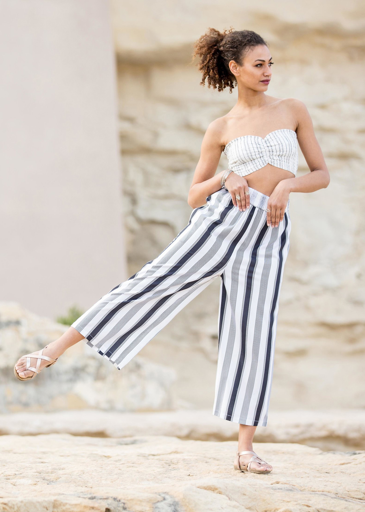 171c262c04b 2 in 1 Wide Leg Culotte Jumpsuit and Trousers Stripes – likemary