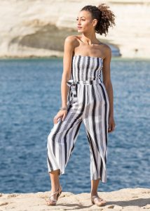 2 in 1 wide leg culotte jumpsuit and trousers stripes