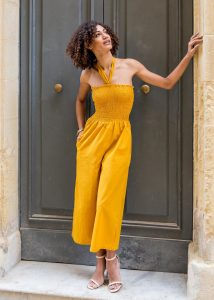 2 in 1 Wide Leg Culotte Jumpsuit and Trousers Yellow