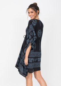 Beach Cover Up Kaftan in Ohm Print Black