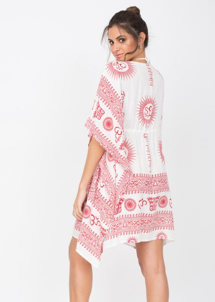 Beach Cover Up Kaftan in Ohm Print White