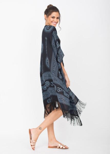Beach Cover Up Kaftan Kimono in Ohm Print Black