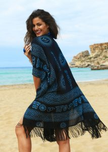 Beach Cover Up Kaftan Kimono in Ohm Print Black