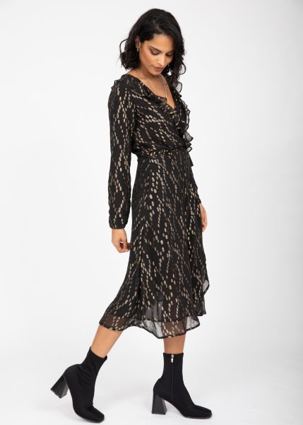Black and Gold Ruffle Midi Wrap Dress With Long Sleeves