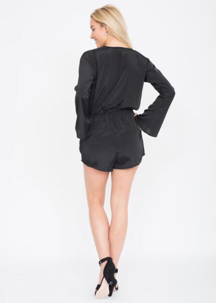 Black Bell Sleeve Playsuit
