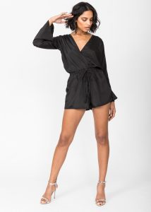 Black Bell Sleeve Playsuit