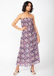 Casablanca Cotton Silk Mix Bandeau Strapless Dress