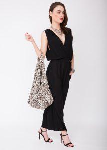 Cotton Cloth Eco 2 in 1 Shoulder Bag & Rucksack Leopard Print