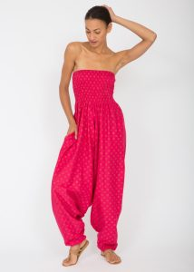 Cotton Printed 2 in 1 Maxi Harem Trouser & Jumpsuit Fuchsia Fleurs
