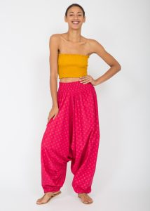 Cotton Printed 2 in 1 Maxi Harem Trouser & Jumpsuit Fuchsia Fleurs