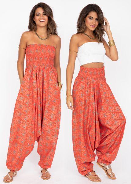 Cotton Printed 2 in 1 Maxi Harem Trouser & Bandeau Jumpsuit Angoor Print