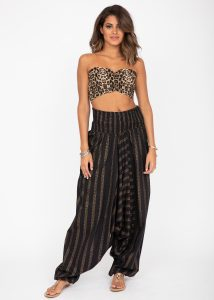 Cotton Printed 2 in 1 Maxi Harem Trouser & Bandeau Jumpsuit Black and Gold Stripes