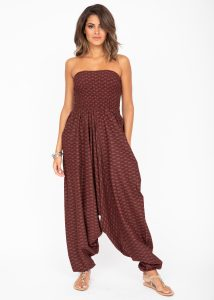 Cotton Printed 2 in 1 Maxi Harem Trouser & Bandeau Jumpsuit Bordeaux Fleurs